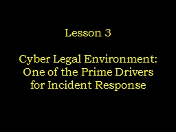 Lesson 3 Cyber Legal Environment: