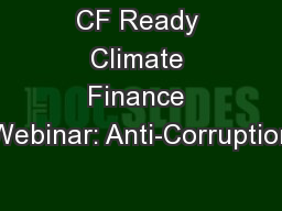 CF Ready Climate Finance Webinar: Anti-Corruption