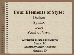 Four Elements of Style: Diction