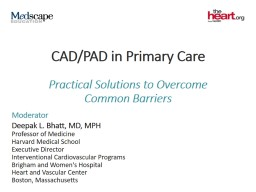 CAD/PAD in Primary Care CV Risk in Stable Outpatients