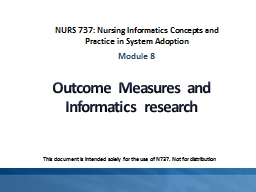 Outcome Measures and Informatics research