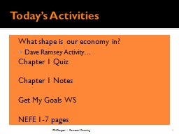 Today's Activities What shape is our economy in?