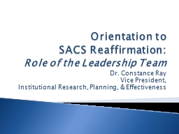 Orientation to  SACS Reaffirmation: PowerPoint PPT Presentation