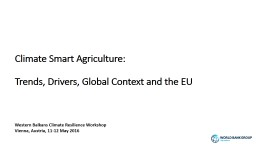 Climate Smart Agriculture: