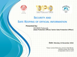 Security  and  Safe  Keeping of official information
