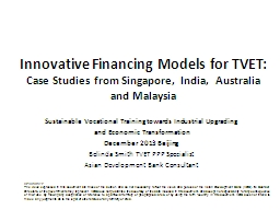 Innovative  Financing  Models for