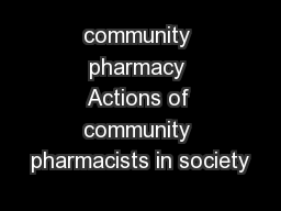 community pharmacy Actions of community pharmacists in society