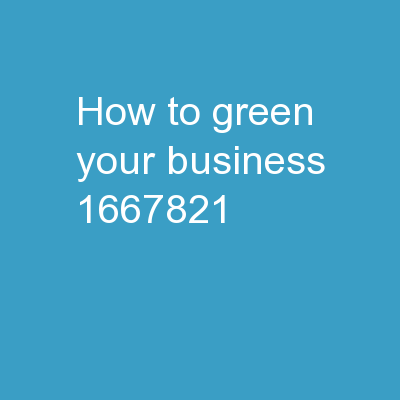How to green your business: