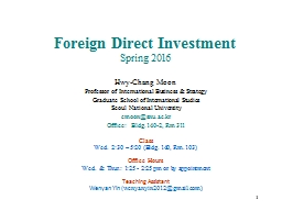 1 Foreign Direct Investment