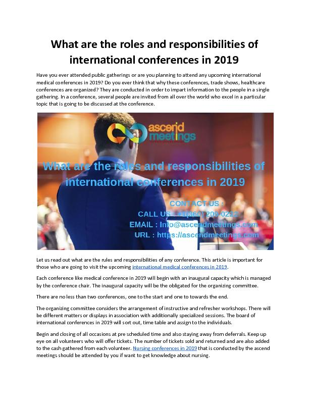 What are the roles and responsibilities of international conferences in 2019