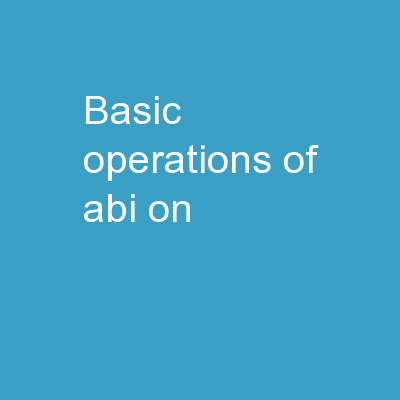 Basic  Operations  of ABI on