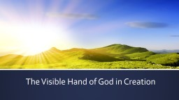 The Visible Hand of God in Creation
