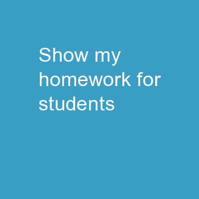 Show My Homework For Students