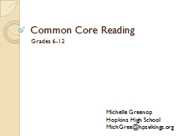 Common Core Reading Grades 6-12