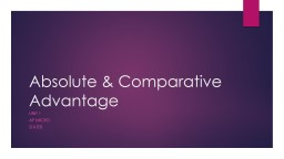 Absolute & Comparative Advantage PowerPoint PPT Presentation