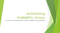 Architecting  Availability Groups PowerPoint PPT Presentation