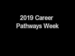 2019 Career Pathways Week