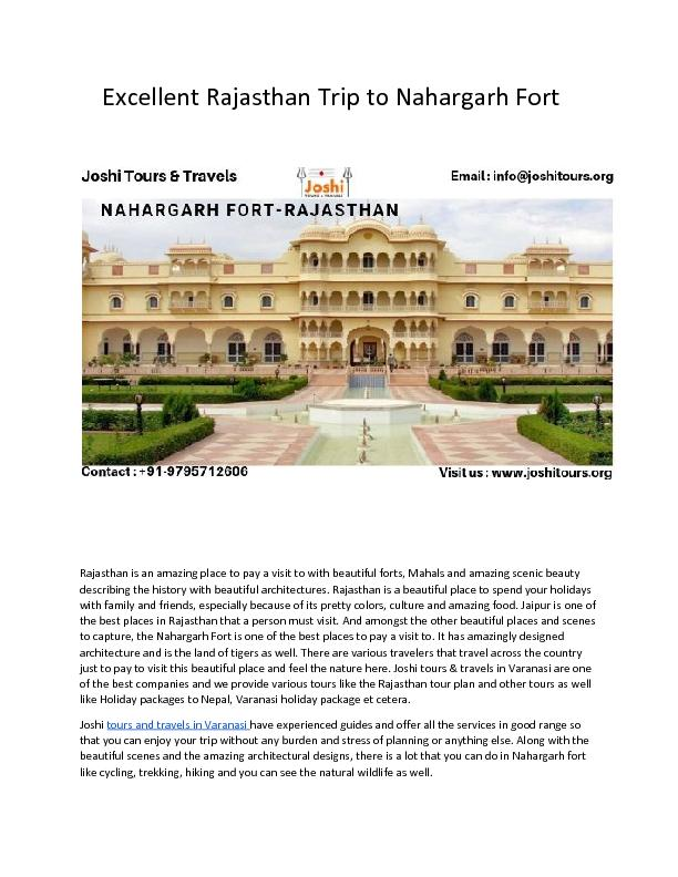 Excellent Rajasthan Trip to Nahargarh Fort