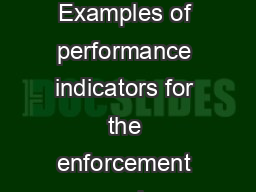Monitoring for Results: Examples of performance indicators for the enforcement and implementation o