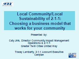 Local Community/Local Sustainability of 2-1-1: