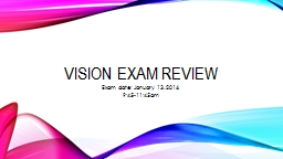 Vision Exam Review Exam date: January 13, 2016