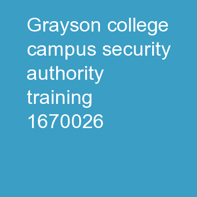 Grayson College Campus Security Authority Training