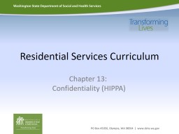 Residential Services Curriculum