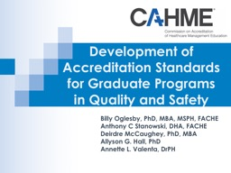 Development of Accreditation Standards for Graduate Programs