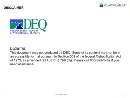 DISCLAIMER Disclaimer: This document was not produced by DEQ. Some of its content may not be in an