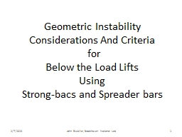 Geometric Instability Considerations And Criteria
