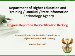 Department of Higher Education and Training /