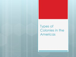 Types of Colonies in the Americas