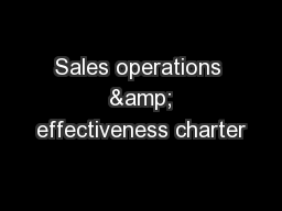 Sales operations  & effectiveness charter