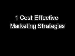 1 Cost Effective Marketing Strategies