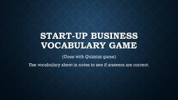Start-up Business Vocabulary Game