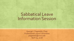 Sabbatical Leave Information Session