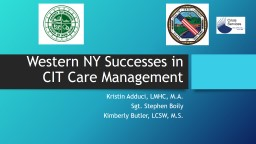 Western NY Successes in CIT Care Management PowerPoint PPT Presentation