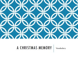 A Christmas Memory Vocabulary