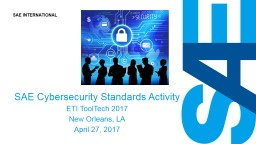 SAE Cybersecurity Standards Activity
