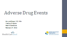 Adverse Drug Events Howard Shaps, MD, MBA PowerPoint PPT Presentation