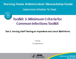 Toolkit 3. Minimum  Criteria for Common Infections Toolkit