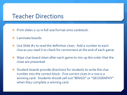 Teacher Directions Print slides 2-12 in full size format onto cardstock.