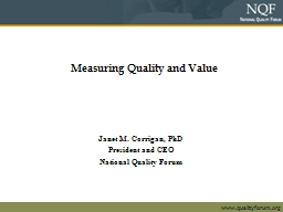 Measuring Quality and Value