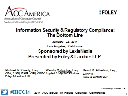 Information Security & Regulatory Compliance: