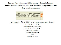 Stories from Successful Elementary Schools Serving Economically Distressed Communities and Implicat