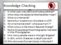 Knowledge Checking In what year was