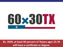 By  2030, at least 60 percent of Texans ages 25-34