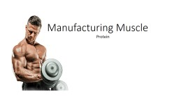 Manufacturing Muscle Protein