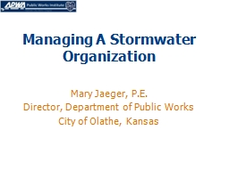 Managing A Stormwater Organization