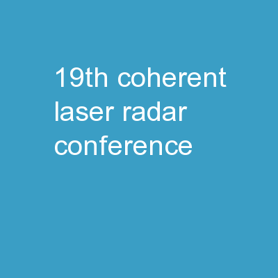 19th Coherent Laser Radar Conference